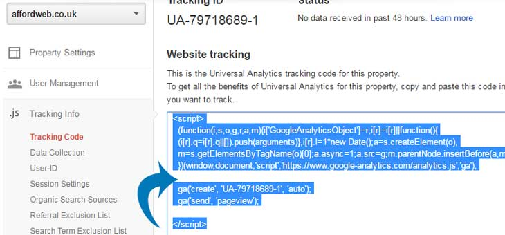 Copy-Google-Analytics-Embed-Code