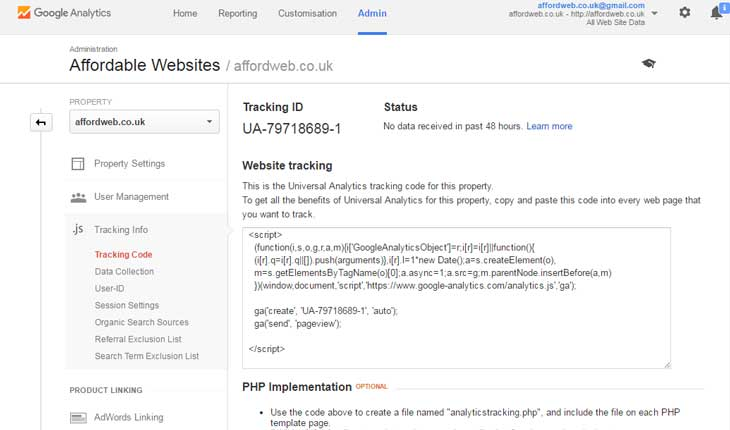 Getting the Tracking ID for your Google Analytics account