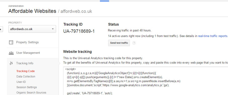 Google Analytics Code showing Recieving Traffic status