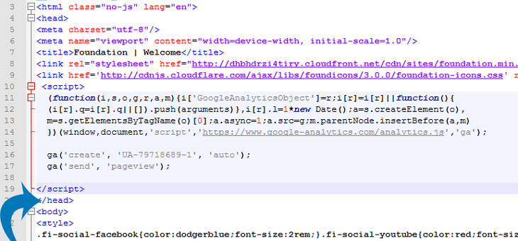 Paste the Google Analytics code directly above your closing head tag