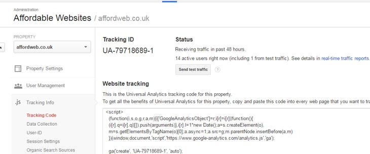 Google Analytics Code showing Recieving Traffic status