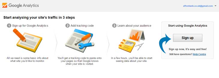Sign up for Google Analytics
